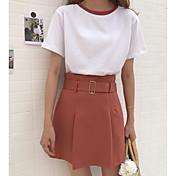 Mujer Bonito Casual/Diario Verano T-Shirt Falda Trajes,Escote Redondo Un Color Manga Corta Microelástico