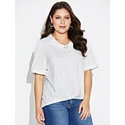 Mujer Simple Casual/Diario Camiseta,Escote en Pico Un Color A Rayas Manga Corta Seda