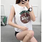 Mujer Simple Casual/Diario Tank Tops,Con Tirantes Un Color Estampado Sin Mangas Algodón