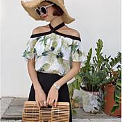 Mujer Simple Casual/Diario Blusa,Escote Barco Estampado Manga Corta Algodón Lino Otro
