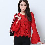 Mujer Simple Casual/Diario Camiseta,Escote Redondo Un Color Manga Larga Algodón Poliéster