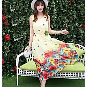 Mujer Vaina Vestido Casual/Diario Floral Escote Redondo Midi Sin Mangas Poliéster Verano Tiro Medio Microelástico Fino