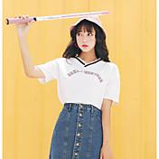 Mujer Simple Casual/Diario Camiseta,Escote en Pico Estampado Letra Manga Corta Algodón Otro