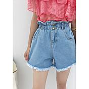 Mujer Sencillo Tiro Alto Microelástico Shorts Pantalones,Perneras anchas Un Color