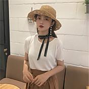 Mujer Corto Pullover Casual/Diario Trabajo Simple,Un Color Escote Redondo Manga Corta Otro Para Todas las Temporadas Verano Fino