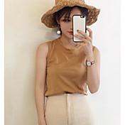 Mujer Simple Casual/Diario Verano Tank Tops,Escote Redondo A Rayas Sin Mangas Algodón Medio