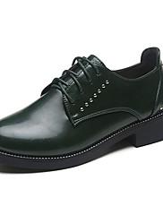 Feminino Sapatos Couro Ecológico Verão Conforto Oxfords Salto Baixo Ponta Redonda Cadarço Para Casual Preto Verde