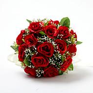 Bryllupsblomster Rund Roser Buketter Bryllup Sateng Bomull Rød 9.84 tommer (ca. 25cm)