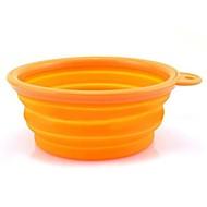 ネコ 犬 餌入れ/水入れ ペット用 ボウル&摂食 携帯用 折り畳み式 イエロー ローズ レッド グリーン ブルー