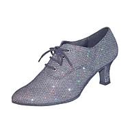 leatherette sapatos de dança de mulheres personalizáveis superiores modernos com lace-ups praticar sapatos de salão