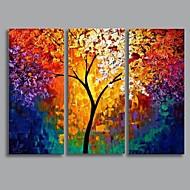 Ručno oslikana Pejzaž Horizontalan Tri plohe Platno Hang oslikana uljanim bojama For Početna Dekoracija