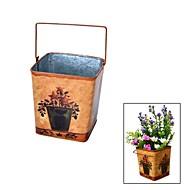 Fer Forgé style rustique, Carré Steel Drum Vase de fleurs