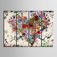 plátno Set Abstraktní Květinový/Botanický motiv Klasický Moderní,Čtyři panely Vertikálně Tisk Art Wall Decor For Home dekorace
