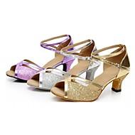 Feminino Latina Dança de Salão Paetês Sandálias Lantejoulas Fivela Salto Personalizado Prateado Dourado Púrpura Personalizável