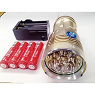 LED Lommelygter LED 9600lm Lumen 3 Tilstand Cree XM-L T6 4 x 18650 Batterier Genopladelig Vandtæt Nattesyn for Camping/Vandring/Grotte