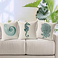 conjunto de 3 moderno animal marinho estilo modelado algodão / linho cobertura decorativa travesseiro