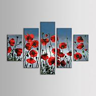 iarts öljymaalaus moderni kukka punaiset kukat seinävaate sarja 5 käsin maalattu kangas venytetty kehyksen