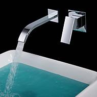 Moderne Vægmonteret Vandfald with  Keramik Ventil Tre Håndtag To huller for  Krom , Håndvasken vandhane