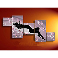 100% ручная роспись абстрактной масляной живописи маслом сливы на холсте 5pcs / set без рамки