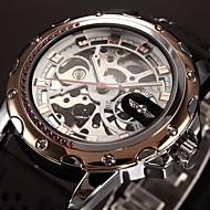 WINNER Férfi Karóra mechanikus Watch Automatikus önfelhúzós Üreges gravírozás Szilikon Zenekar Luxus Fekete Aranyozott Vörös arany