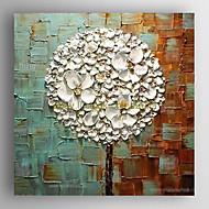Ručno oslikana Cvjetni / Botanički Kvadrat,Moderna Jedna ploha Hang oslikana uljanim bojama For Početna Dekoracija