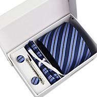 עניבה / כיס מרובע / עניבת קליפס / חפתים - פסים ( כחול כהה , פוליאסטר )