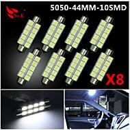 4x bílá 44mm 5050 10smd podlouhlá stránka kopule interiér LED žárovky de3423 6418 12v