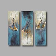 Pintados à mão Abstrato Retratos Abstratos Vertical,Moderno 3 Painéis Tela Pintura a Óleo For Decoração para casa