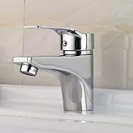 Moderne Vandret Montering Enkelt Håndtag Et Hul I Krom Håndvasken Vandhane