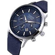 Pánské Hodinky k šatům Módní hodinky Náramkové hodinky Křemenný Kalendář Kůže Kapela Černá Bílá Modrá Bílá Černá Kávová Modrá
