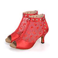 Aanpasbaar-Dames-Dance Schoenen(Zwart / Rood / Ivoor) - metWijd uitlopende hak- enBuikdans / Latin / Jazz / Danssneakers / Modern / Samba