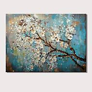 Ručno oslikana Sažetak Cvjetni / Botanički Horizontalan,Moderna Jedna ploha Platno Hang oslikana uljanim bojama For Početna Dekoracija
