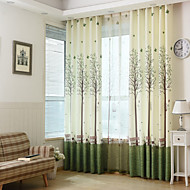 Dvije zavjese Zemlja / Moderna / Neoclassical / Mediterranean / Europska Cvjetni / Botanički Plav / Zelen / Narančasta Bedroom Polyester