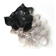 8 100% Ombre harmaa leikkeen ihmisen hiusten pidennykset Brasilian hiukset leikkeen ojennuksessa kehon aalto