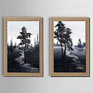 Handgeschilderde Abstracte landschappen Olie schilderijen,Modern Twee panelen Canvas Hang-geschilderd olieverfschilderij For Huisdecoratie