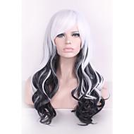 Γυναικείο Συνθετικές Περούκες Χωρίς κάλυμμα Σγουρά Μαύρο/Λευκό Μαλλιά με ανταύγειες Φυσική περούκα Απόκριες Περούκα Καρναβάλι περούκα