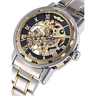 WINNER Férfi Karóra mechanikus Watch Automatikus önfelhúzós Üreges gravírozás Rozsdamentes acél Zenekar Luxus Ezüst Aranyozott