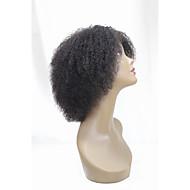 Mulher Perucas de cabelo capless do cabelo humano Preto jet Preto Marrom Escuro Preto jet Preto Curto Kinky Curly Repartida ao Meio