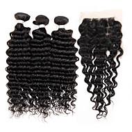 Hår Veft Med Lukker Brasiliansk hår Dyp Bølge 4 deler hår vever