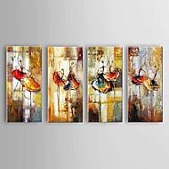 Maalattu Abstrakti / Maisema / Asetelma öljymaalauksia,Moderni / Classic / Pastoraali / European Style 4 paneeli KanvasHang-Painted