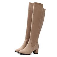 Støvler-Kunstlæder-Modestøvler-Dame-Sort Burgunder Mandel-Kontor Fritid-Tyk hæl