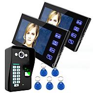 Ennio tocar chave do sistema de telefone da porta de vídeo digital intercom 7 lcd wth controle de acesso impressão digital 1 câmera de 2
