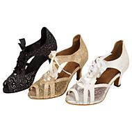 Sapatos de Dança(Preto / Branco / Dourado) -Feminino-Personalizável-Latina / Salsa