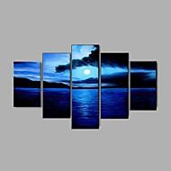 Handgemalte Abstrakt Landschaft Stillleben Abstrakte Landschaft Horizontal,Klassisch Modern Ländlich Europäischer Stil Fünf Panele