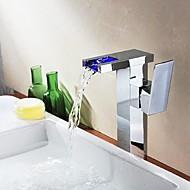 콘템포라리 세면대 수전 워터팔 with  도자기 발브 홀 한개 싱글 핸들 하나의 구멍 for  크롬 , 욕실 싱크 수도꼭지