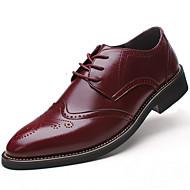Herrer Sko Læder Forår Sommer Efterår Vinter Bullock sko Formelle sko Komfort Oxfords Snøring Til Bryllup Afslappet Fest/aften Sort Brun