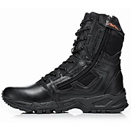 Men's Shoes Cowhide Spring Fall Boots Hiking Shoes Zipper Lace-up For Outdoor Black Khaki
