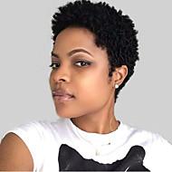 Mulher Perucas de cabelo capless do cabelo humano Preto Curto Ondulado Corte Pixie Peruca Afro Americanas