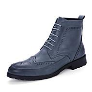 Herre-Mikrofiber-Flat hælStøvler-Fritid-Svart Brun Blå