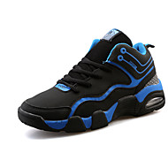 Feminino-Tênis-Conforto-Rasteiro-Azul Preto e Vermelho Preto e Branco-Tecido-Para Esporte